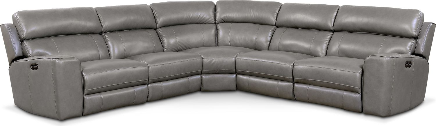 Living Room Furniture - Newport 5-Piece Power Reclining Sectional with 2 Reclining Seats - Gray
