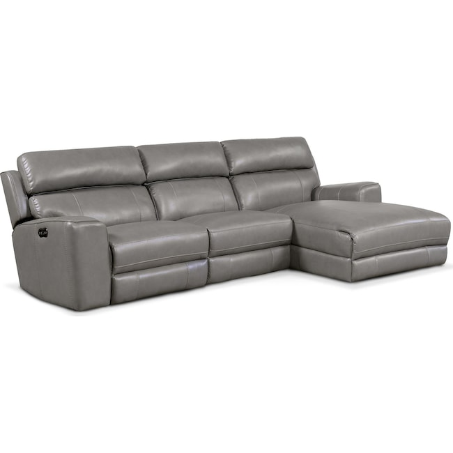 Living Room Furniture - Newport 3-Piece Power Reclining Sectional with Right-Facing Chaise - Gray