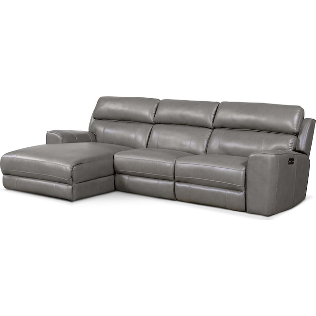 Living Room Furniture - Newport 3-Piece Power Reclining Sectional with Left-Facing Chaise - Gray