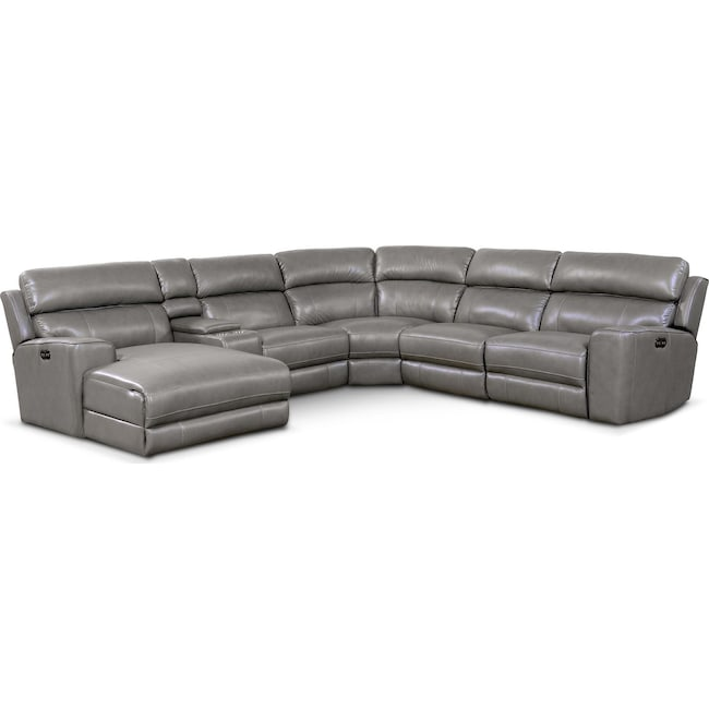 Living Room Furniture - Newport 6-Piece Power Reclining Sectional with Left-Facing Chaise and 2 Recliners - Gray