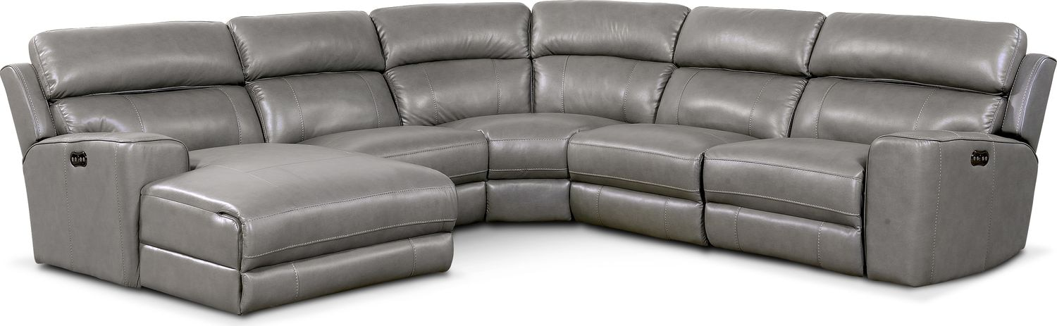 Living Room Furniture - Newport 5-Piece Power Reclining Sectional with Left-Facing Chaise and 2 Recliners - Gray