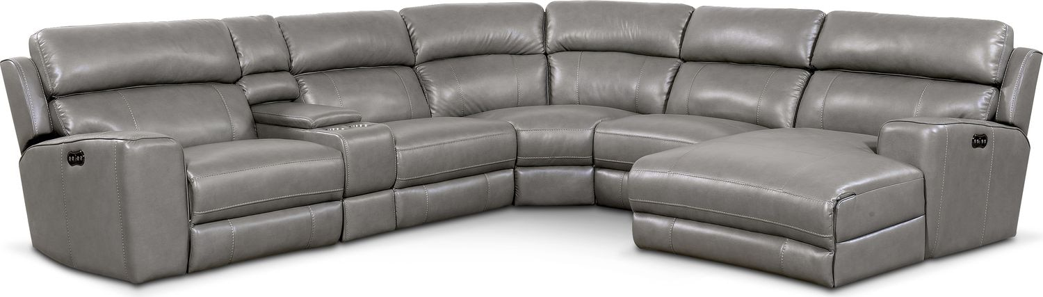 Living Room Furniture - Newport 6-Piece Power Reclining Sectional with Right-Facing Chaise and 2 Recliners - Gray