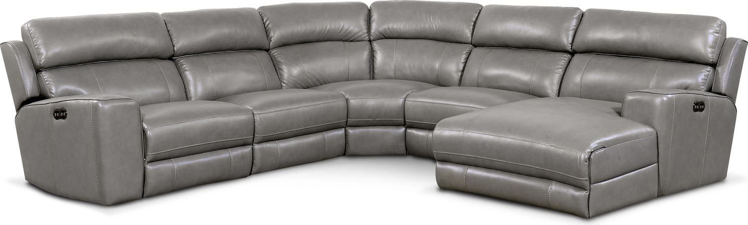 Living Room Furniture - Newport 5-Piece Power Reclining Sectional with Right-Facing Chaise and 2 Recliners - Gray