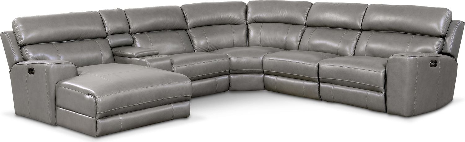 Living Room Furniture - Newport 6-Piece Power Reclining Sectional with Left-Facing Chaise and 1 Recliner - Gray