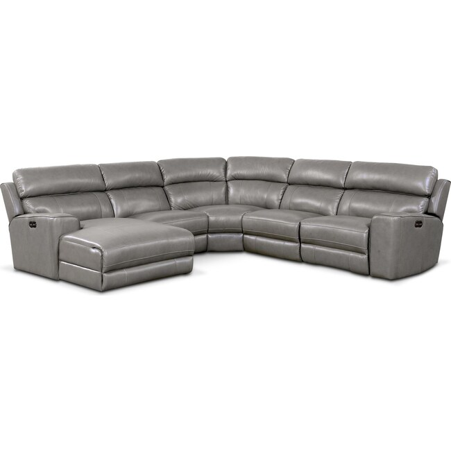 Living Room Furniture - Newport 5-Piece Power Reclining Sectional with Left-Facing Chaise and 1 Recliner - Gray