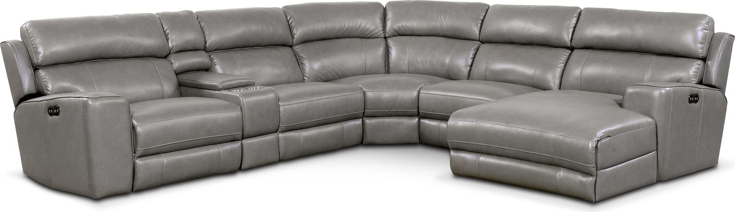 Living Room Furniture - Newport 6-Piece Power Reclining Sectional with Right-Facing Chaise and 1 Recliner - Gray