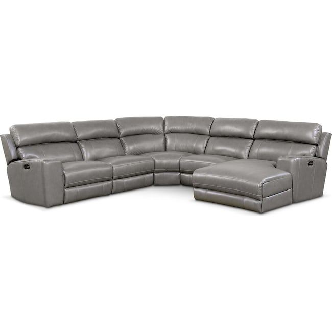Living Room Furniture - Newport 5-Piece Power Reclining Sectional with Right-Facing Chaise and 1 Recliner - Gray