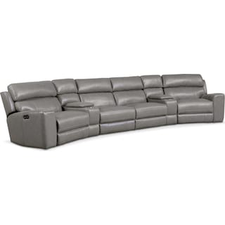 Newport 6-Piece Power Reclining Sectional with 2 Wedge Consoles - Gray