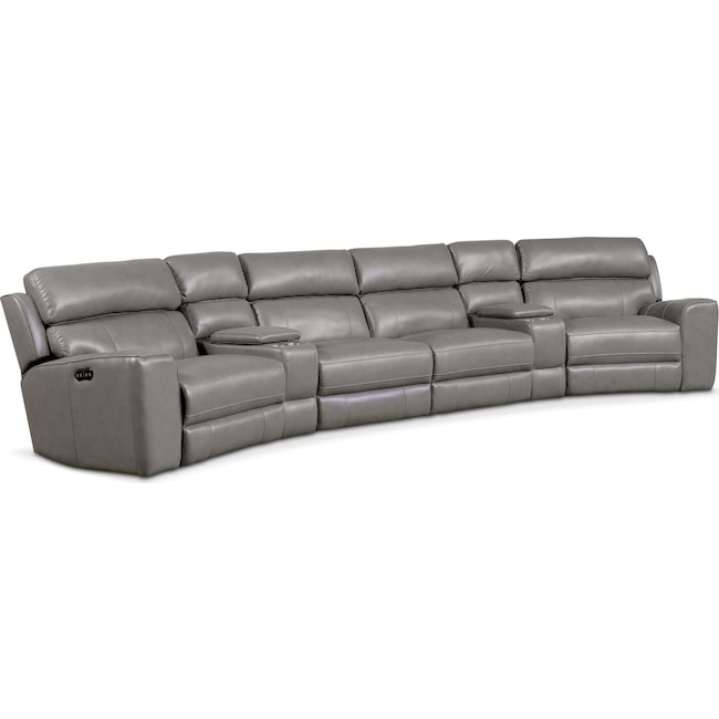 Living Room Furniture - Newport 6-Piece Power Reclining Sectional with 2 Wedge Consoles - Gray