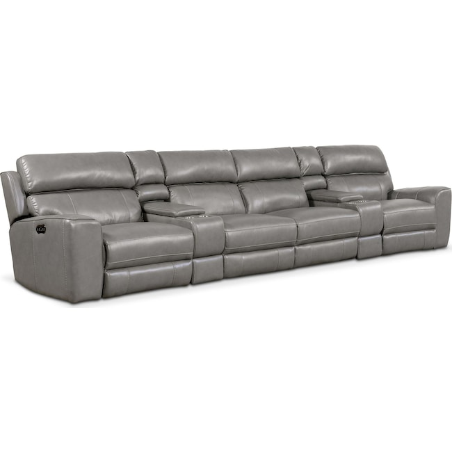 Living Room Furniture - Newport 6-Piece Power Reclining Sectional with 4 Reclining Seats - Gray