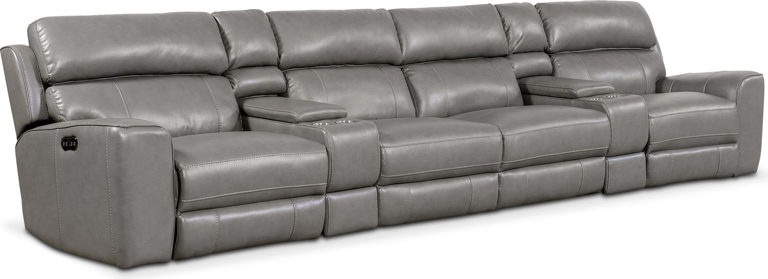Living Room Furniture - Newport 6-Piece Power Reclining Sectional with 4 Reclining Seats -  sc 1 st  Value City Furniture : vcf sectional - Sectionals, Sofas & Couches