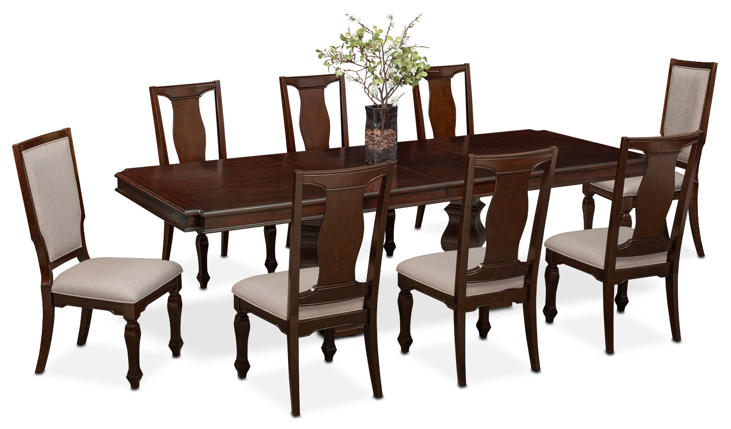 Dining Room Furniture - Vienna Dining Table, 6 Side Chairs and 2 Upholstered Side Chairs - Merlot