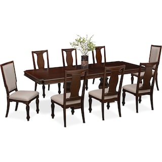 Vienna Dining Table 6 Side Chairs And 2 Upholstered Merlot