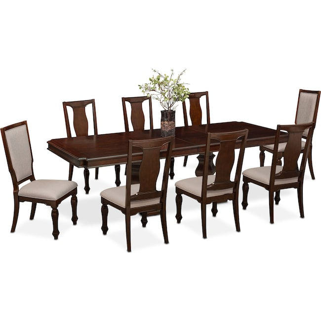 Dining Room Furniture - Vienna Dining Table, 6 Dining Chairs and 2 Upholstered Dining Chairs