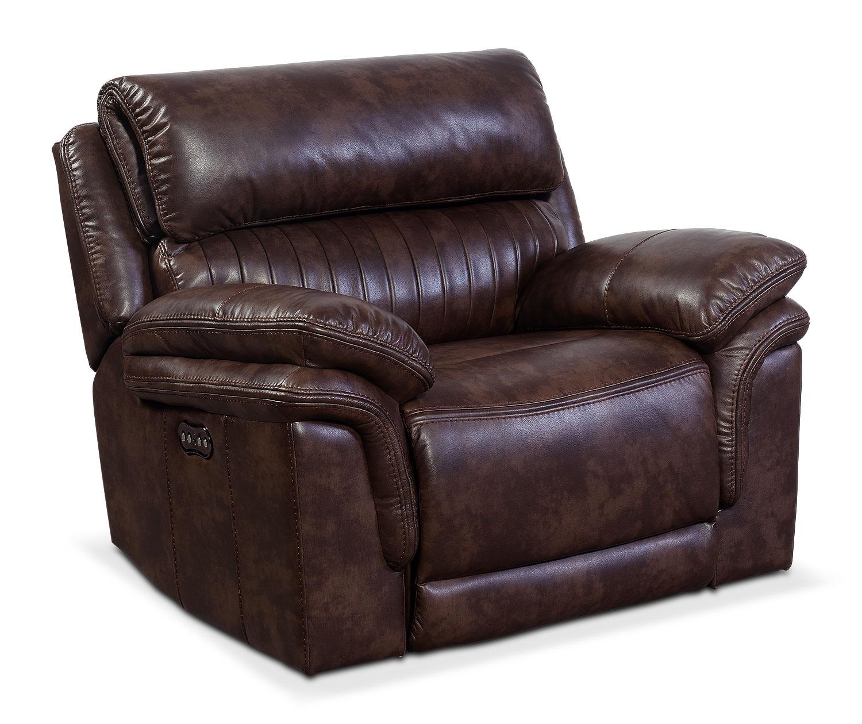 Living Room Furniture - Monterey Power Recliner - Chocolate