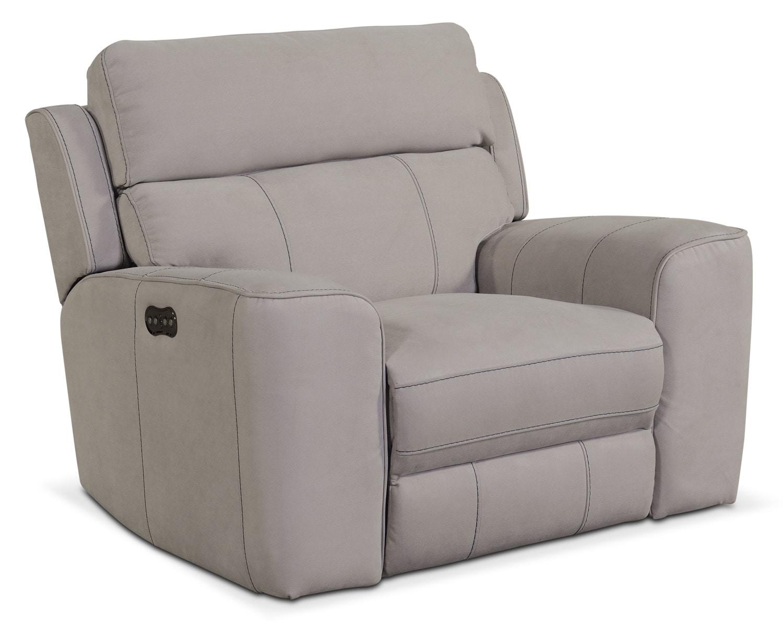 Living Room Furniture - Newport Power Recliner - Light Gray