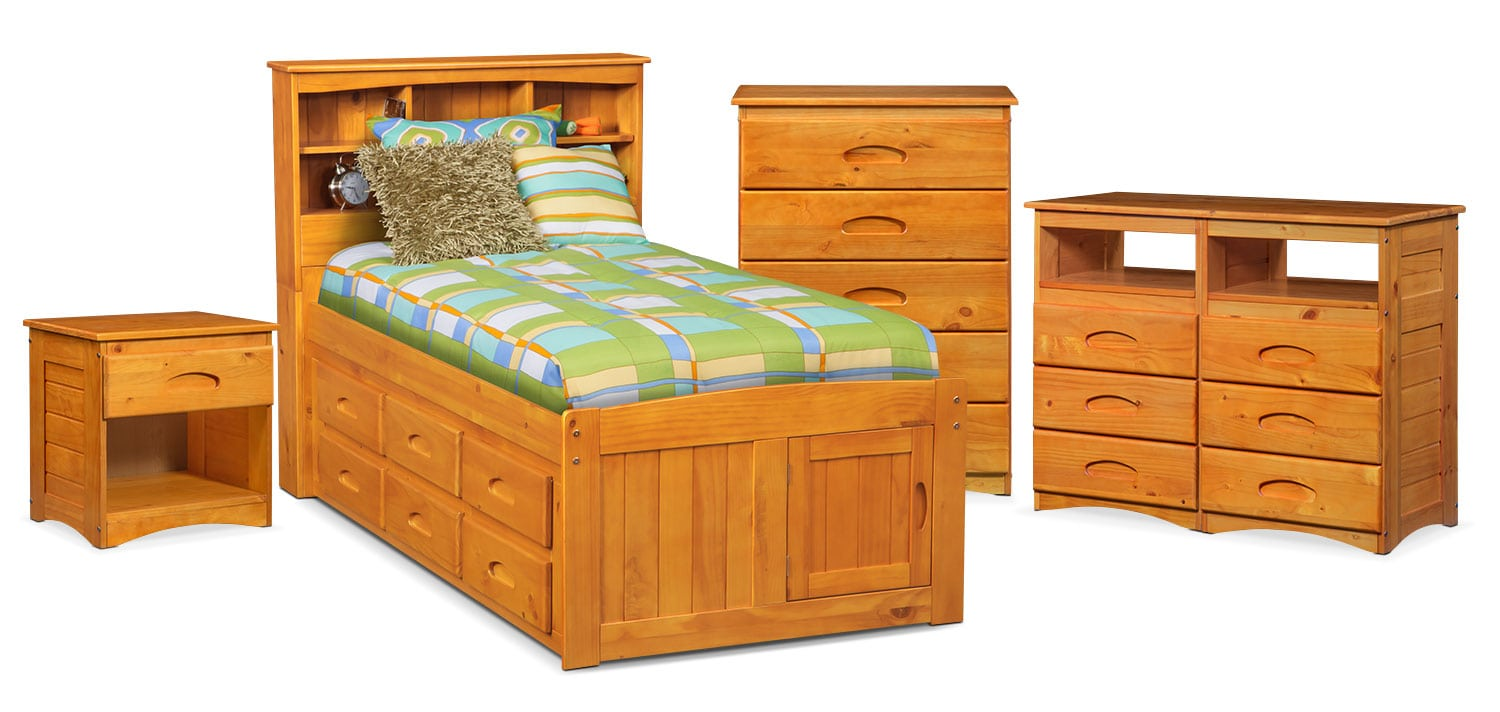The Ranger Bookcase Bed Collection - Pine