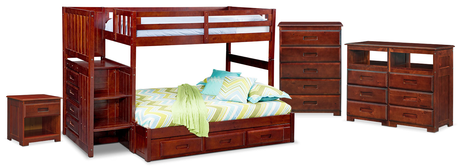 The Ranger Bunk Bed Collection Merlot Value City Furniture And