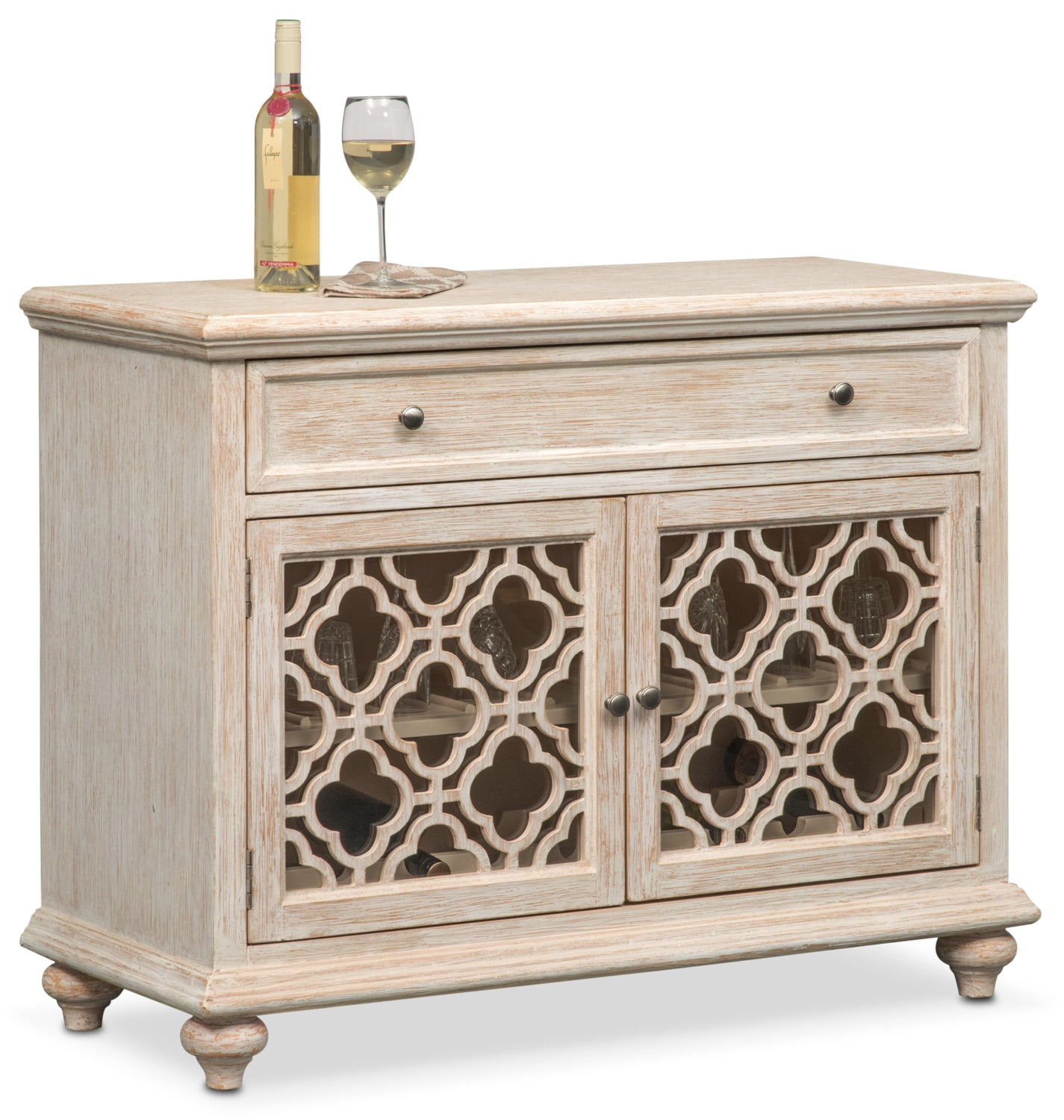 Accent and Occasional Furniture - Chateau Wine Cabinet - Washed White