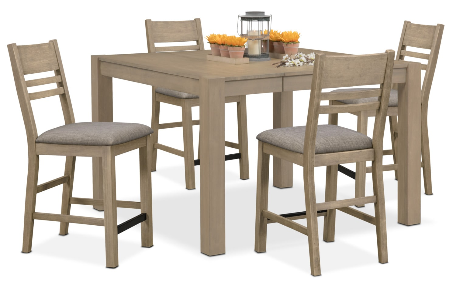 Dining Room Furniture - Tribeca Counter-Height Table and 4 Side Chairs - Gray