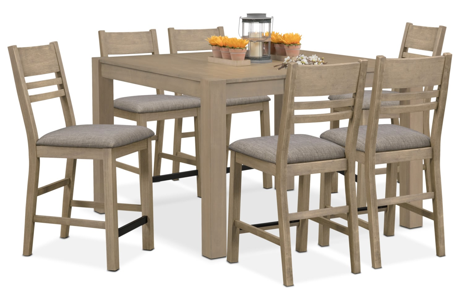 Dining Room Furniture - Tribeca Counter-Height Table and 6 Side Chairs - Gray