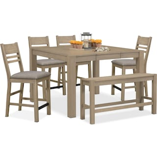 Tribeca Counter-Height Table, 4 Side Chairs and Bench - Gray