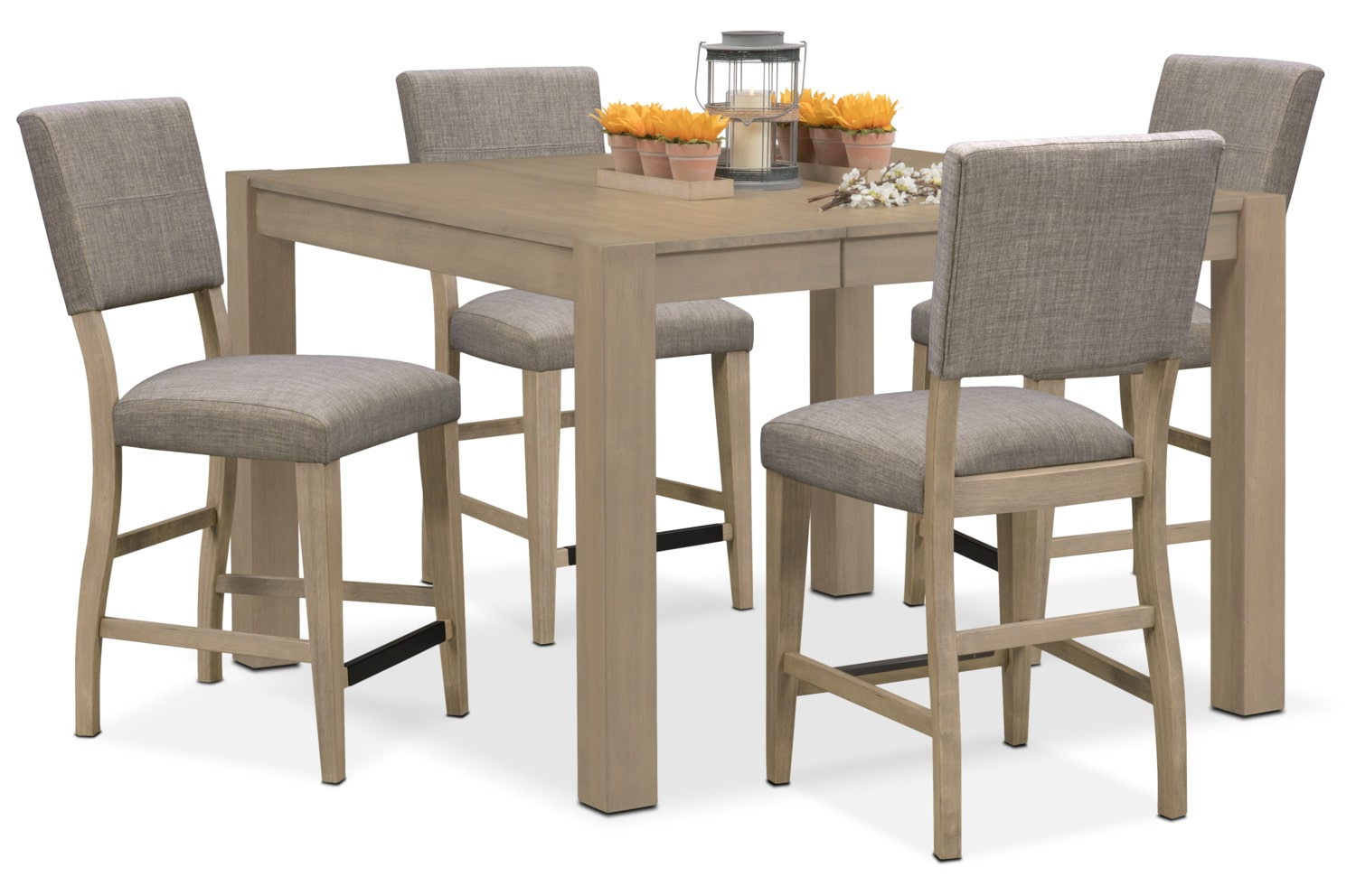 Tribeca Counter-Height Table and 4 Upholstered Side Chairs - Gray  sc 1 st  Value City Furniture & Tribeca Counter-Height Table - Gray | Value City Furniture and ...