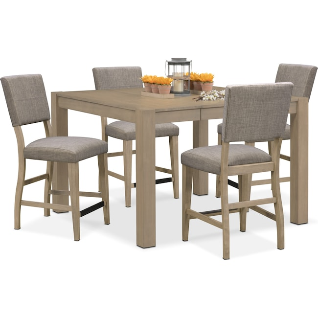 Dining Room Furniture - Tribeca Counter-Height Table and 4 Upholstered Side Chairs - Gray