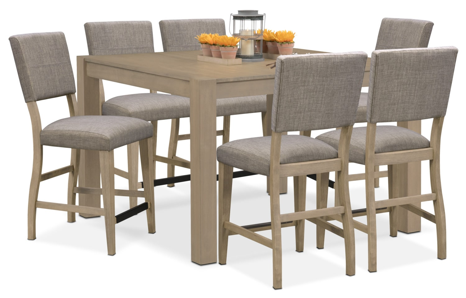 Dining Room Furniture - Tribeca Counter-Height Dining Table and 6 Upholstered Dining Chairs