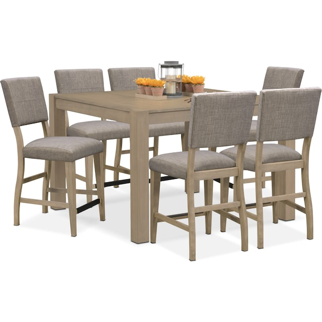 Dining Room Furniture - Tribeca Counter-Height Table and 6 Upholstered Side Chairs - Gray