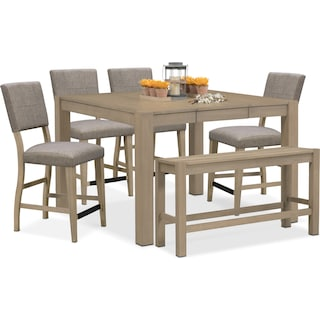 Tribeca Counter-Height Table, 4 Upholstered Side Chairs and Bench - Gray