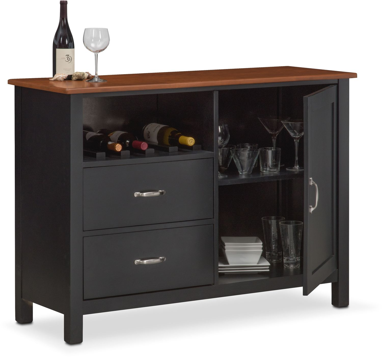 Nantucket Sideboard - Black and Cherry - Buffet & Sideboard Cabinets Value City Furniture