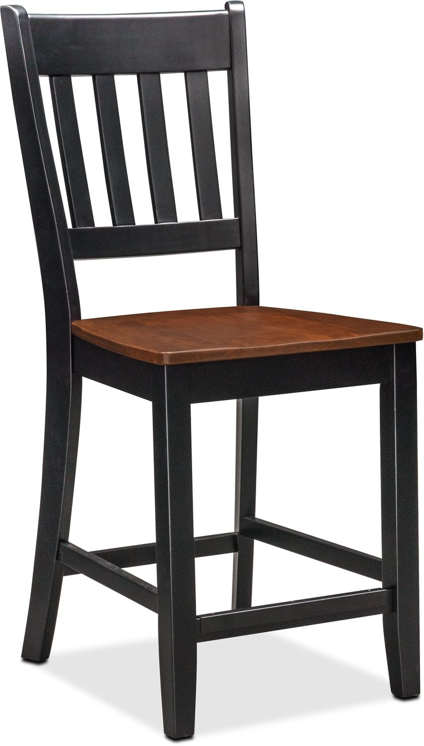 nantucket counter height table and 4 slat back chairs black and
