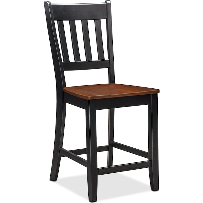 Dining Room Furniture - Nantucket Counter-Height Slat-Back Chair - Black and Cherry