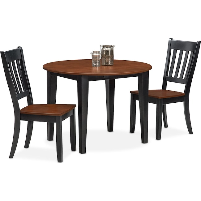 Dining Room Furniture - Nantucket Drop-Leaf Table and 2 Slat-Back Chairs - Black and Cherry