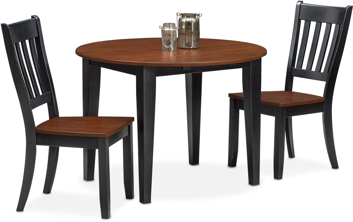 $299.97 Nantucket Drop Leaf Table And 2 Slat Back Chairs   Black And Cherry  By Apt.1710