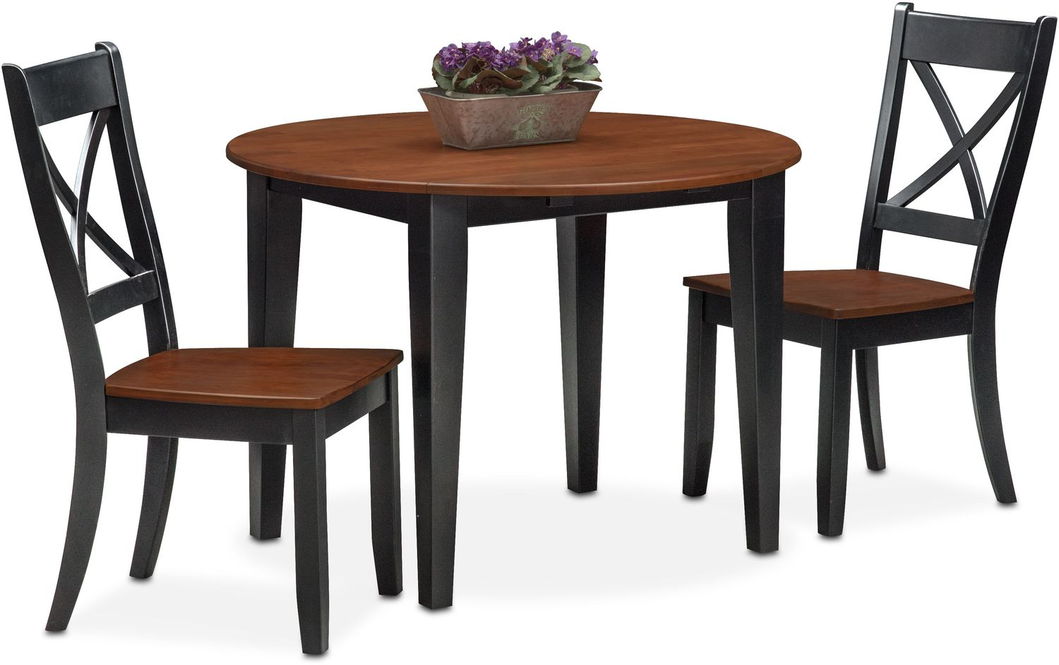 Nantucket Drop-Leaf Table and 2 Side Chairs - Black and Cherry ...