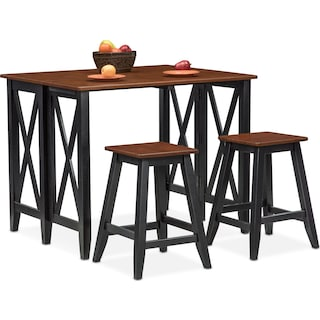 Nantucket Breakfast Bar and 2 Counter-Height Stools - Black and Cherry