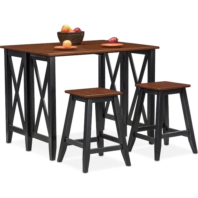 Dining Room Furniture - Nantucket Breakfast Bar and 2 Counter-Height Stools - Black and Cherry