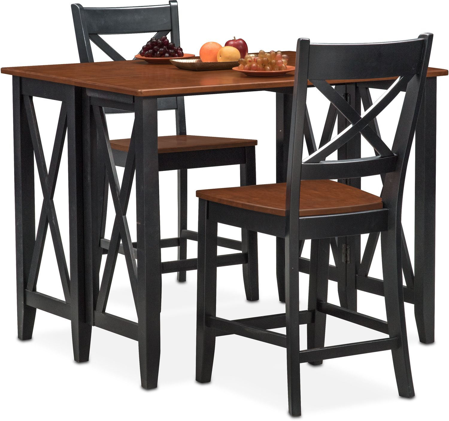 Dining Room Furniture - Nantucket Breakfast Bar and 2 Counter-Height Side Chairs - Black and Cherry