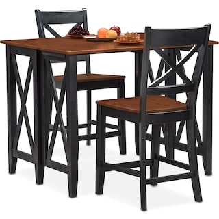 Nantucket Breakfast Bar and 2 Counter-Height Side Chairs - Black and Cherry