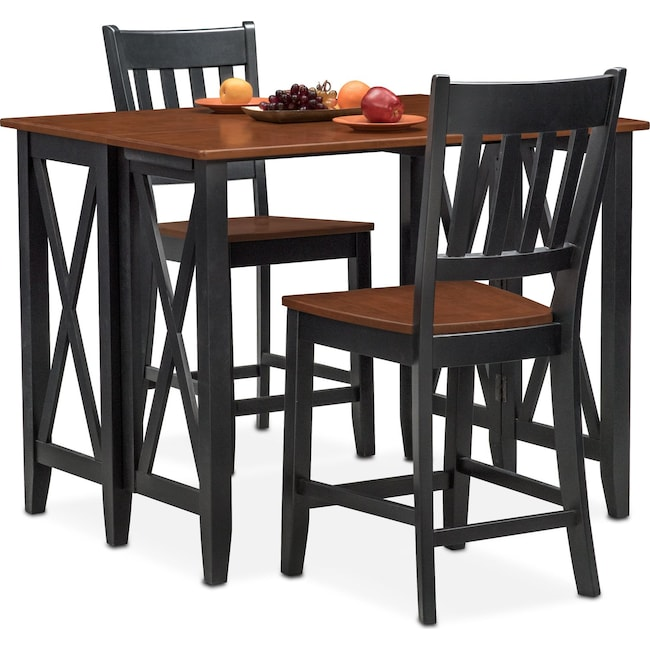 Dining Room Furniture - Nantucket Breakfast Bar and 2 Counter-Height Slat-Back Chairs - Black and Cherry