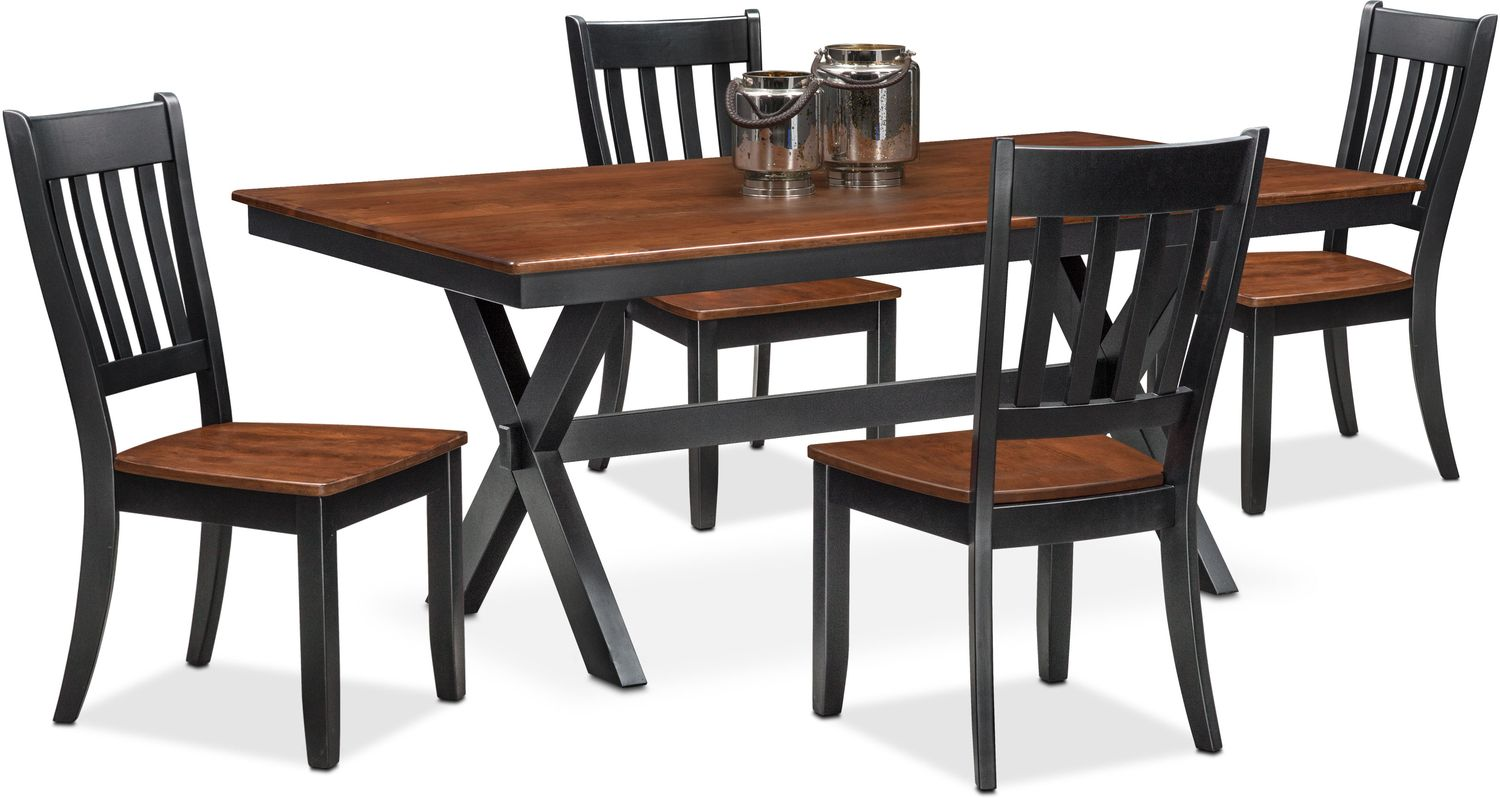 Slat Back Chairs nantucket trestle table and 4 slat-back chairs - black and cherry