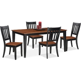 Nantucket Table and 4 Slat-Back Chairs - Black and Cherry