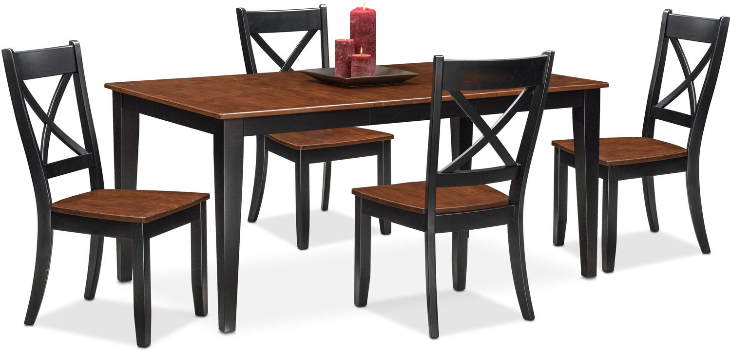 Nantucket Table and 4 Side Chairs - Black and Cherry