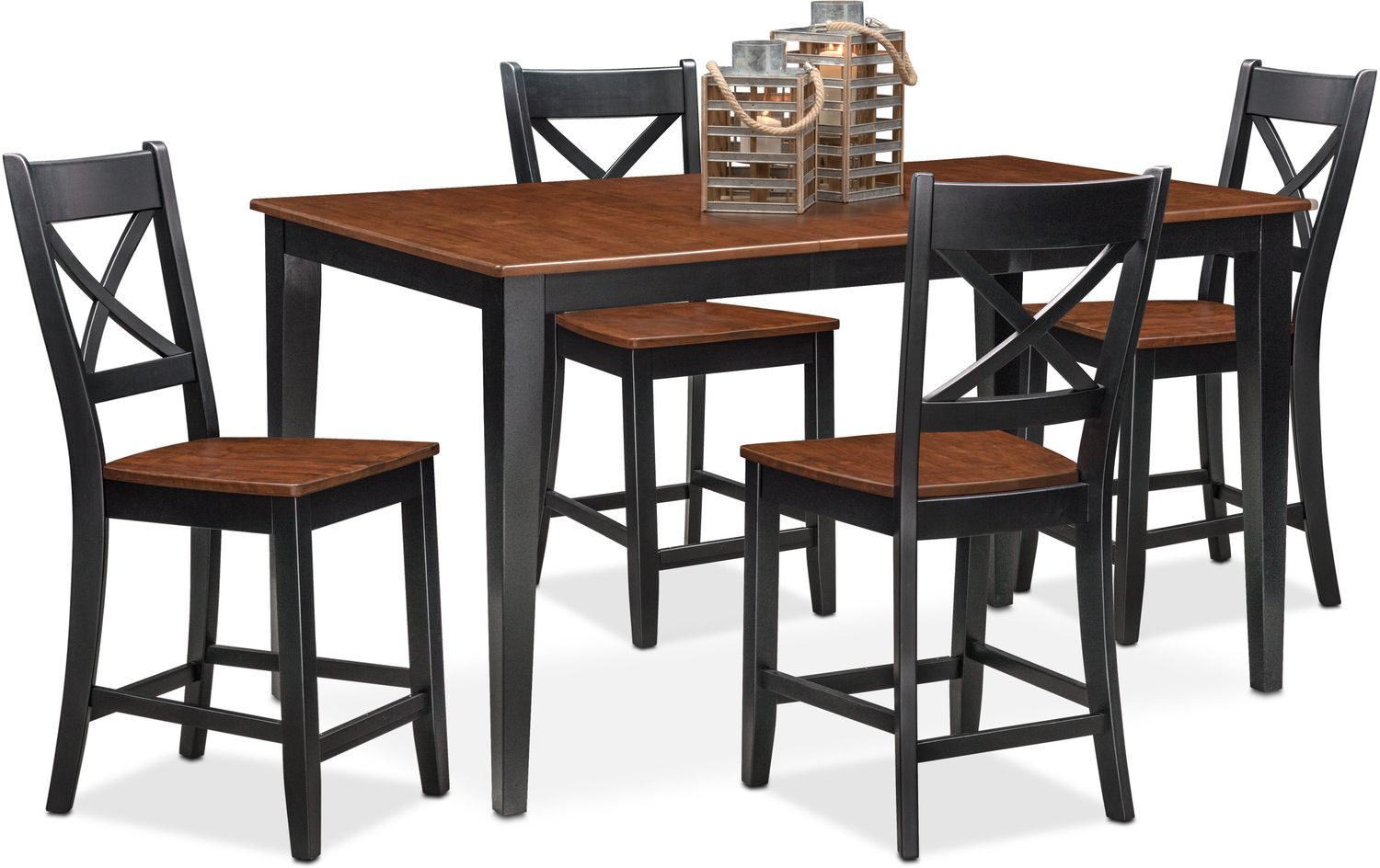 Nantucket counter height table and 4 side chairs black and cherry value city furniture and mattresses