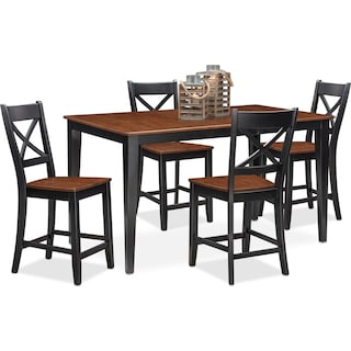 Nantucket Counter-Height Dining Table and 4 Dining Chairs
