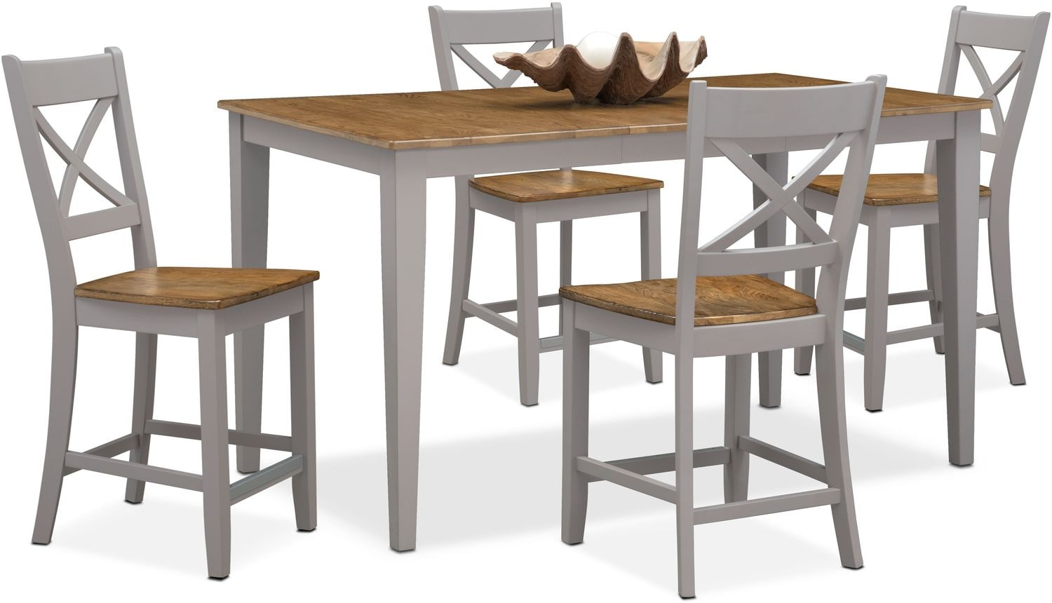 Nantucket Counter-Height Table and 4 X-Back Chairs - Maple