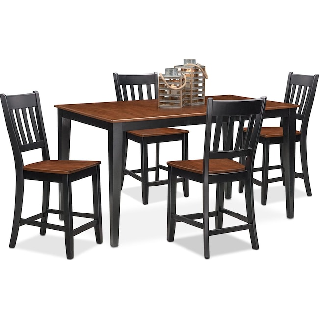 Dining Room Furniture - Nantucket Counter-Height Table and 4 Slat-Back Chairs - Black and Cherry