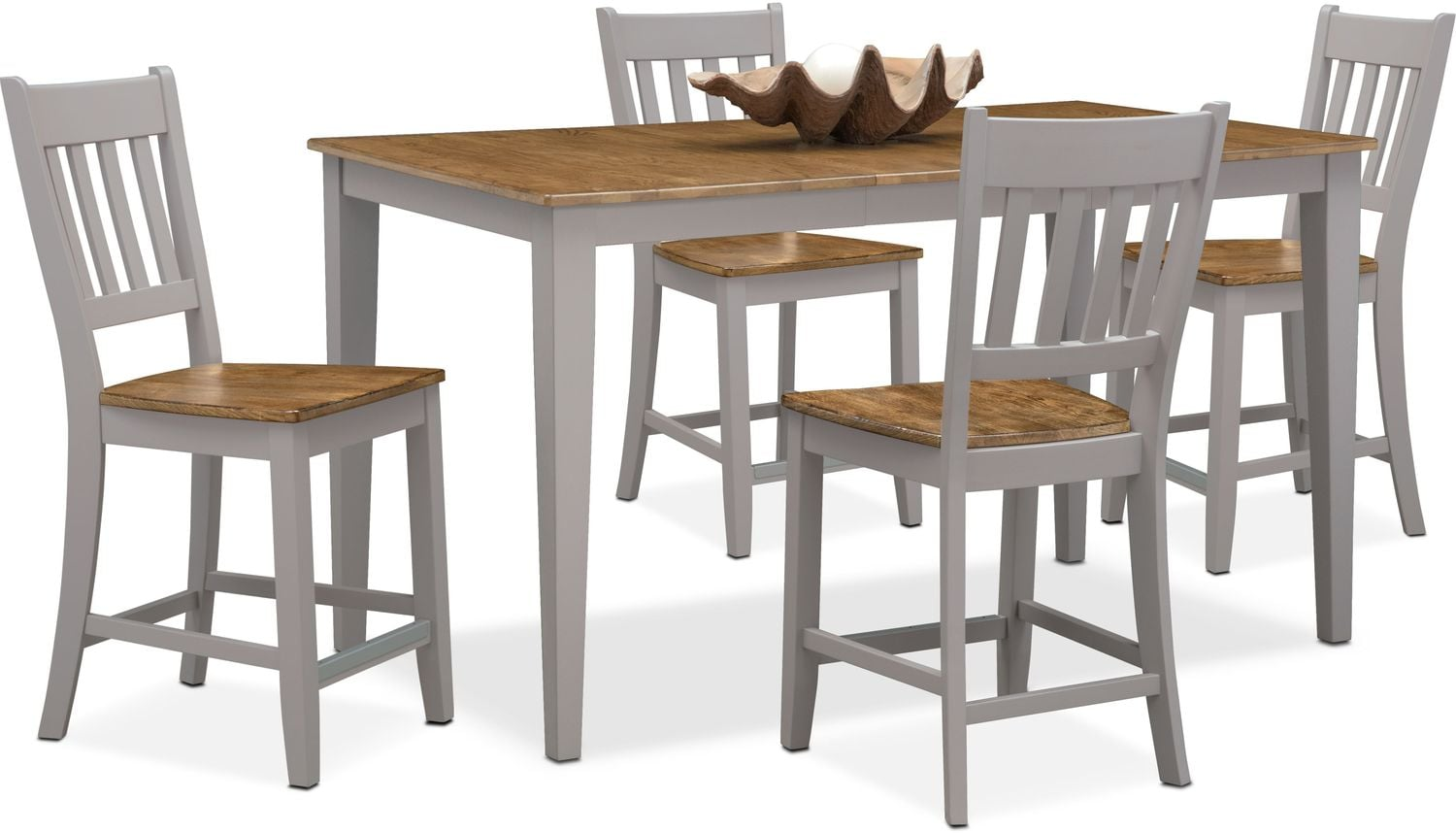 Nantucket Counter-Height Table and 4 Slat-Back Chairs - Maple